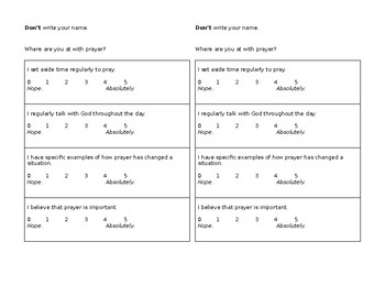 Prayer - self-assess, two formats, write out