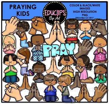 Praying Kids Clip Art Bundle {Educlips Clipart}
