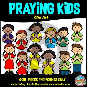 Praying Kids Clipart for Teachers, Clip Art for Commercial Use