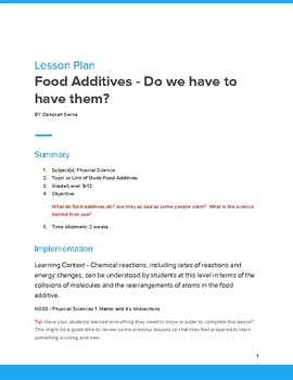Prbl Lesson - template  Plan Organic Chemistry - Food Additives