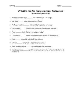 Práctica con los Complementos Indirectos - preterito