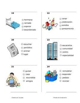 Práctica de Vocabulario para segundo o tecer grado.