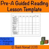 Pre-A Guided Reading Lesson Template