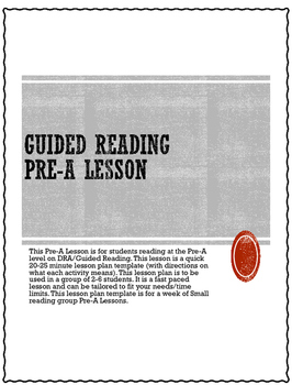 Pre-A Guided Reading Lesson Weekly Plan