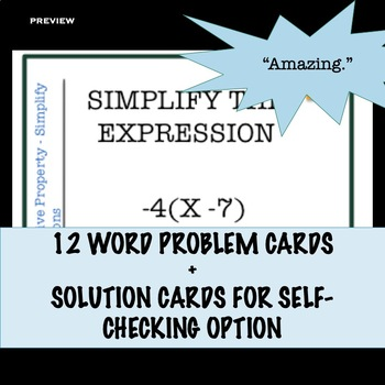 Distributive Property Task Card Activity for Simplifying Expressions