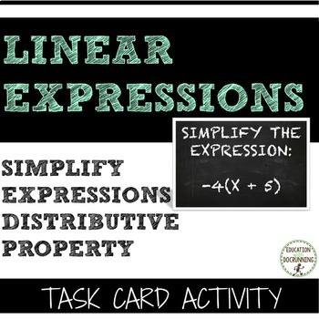 Distributive Property Task Card Activity for Simplifying E