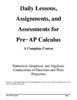 Pre-AP* Calculus--Unit #1--Introduction to Functional Analysis (Part I)