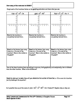 Pre-AP* Calculus--Unit #2--Analysis of Polynomial Functions (Part II)