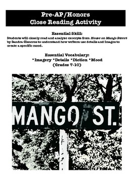 Pre-AP/Honors Reading Analysis - The House on Mango Street