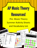 Pre-AP Music Theory Summer Activity Sheets and Vocabulary