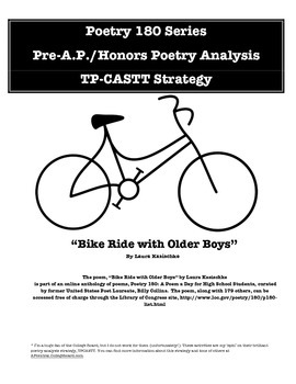 "Pre-AP/Honors English Poetry Analysis - ""Bike Ride With Older Boys"""