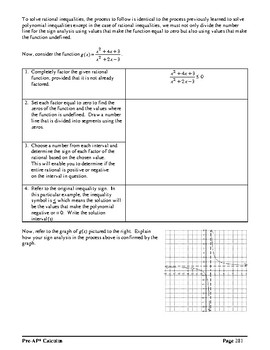 Pre-AP* Pre-calculus Unit #4–Analysis of Rational Functions