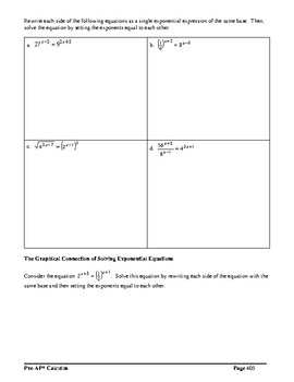 Pre-AP* Pre-calculus Unit #5 – Analysis of Exponential Functions