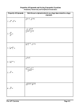 Pre-AP* Pre-calculus Unit #6 – Analysis of Exponential Functions
