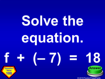 (8th) Quiz Show Game Equations in a PowerPoint Presentation