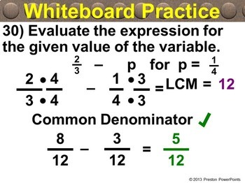(8th) Adding & Subtracting with Unlike Denominators in a PowerPoint