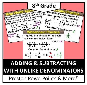 (8th) Adding & Subtracting with Unlike Denominators in a P