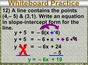 (8th) Writing Equations in Point-Slope Form in a PowerPoint Presentation