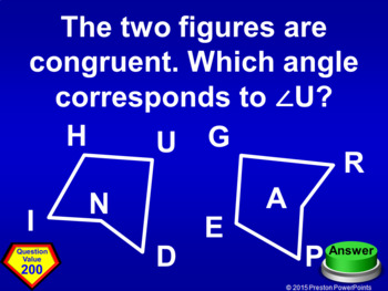 (8th) Quiz Show Game Transformations Congruent Figures in a PowerPoint