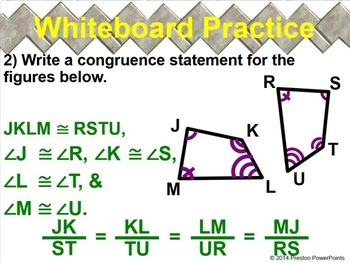 (8th) Congruent Figures in a PowerPoint Presentation