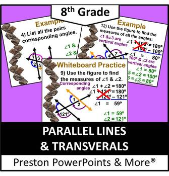 (8th) Parallel Lines and Transversals in a PowerPoint Presentation