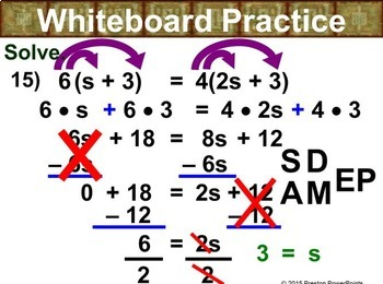(8th) Solving Equations with Variables on Both Sides in a PowerPoint