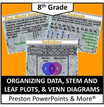 (8th) Organizing Data, Stem & Leaf Plots & Venn Diagrams in a PowerPoint