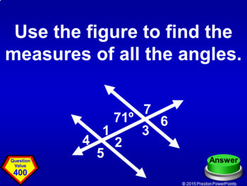 (8th) Quiz Show Game Angles and Triangles in a PowerPoint Presentation