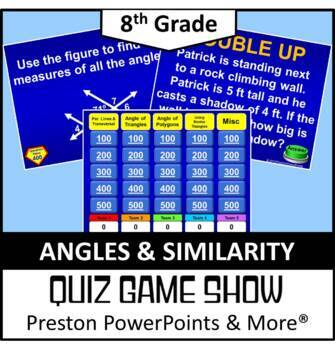 (8th) Quiz Show Game Angles and Triangles in a PowerPoint