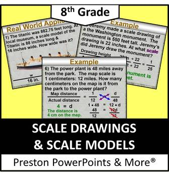 (8th) Scale Drawings and Scale Models in a PowerPoint Presentation