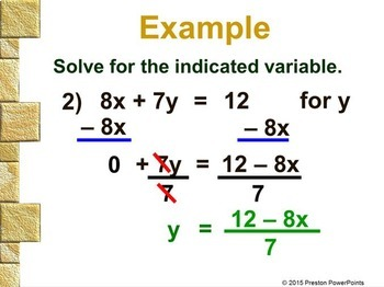 (8th) Rewriting Equations and Formulas in a PowerPoint Presentation