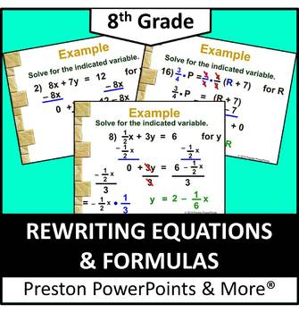 (8th) Rewriting Equations and Formulas in a PowerPoint Pre