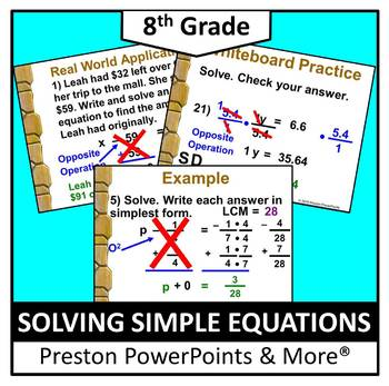 (8th) Solving Simple Equations in a PowerPoint Presentation