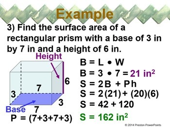 (8th) Surface Area of Prisms and Cylinders in a PowerPoint Presentation