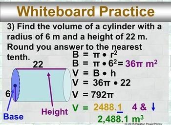 (8th) Volumes of Cylinders in a PowerPoint Presentation