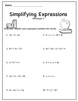 Pre Algebra Worksheets {Simplifying Expressions (Distribute & Combine Like Term