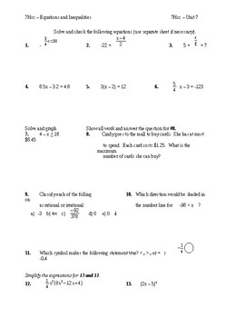 Pre Algebra (7H-8Math) - EQUATIONS and Inequalities -  REVEIW for Test -(Unit 7)