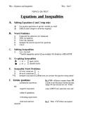 Pre Algebra (7H-8Math) - EQUATIONS and Inequalities -  REV