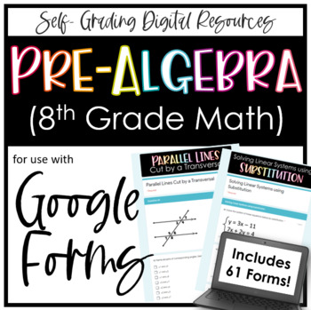 Pre-Algebra Digital Assignment Bundle for Google Forms Distance Learning