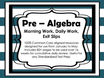 Pre-Algebra 8th Grade Math Daily Morning Work Part 2