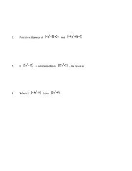 Pre Algebra  - Add and Subtract POLYNOMIALS