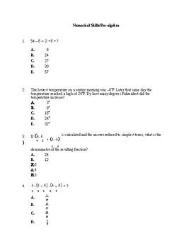 Pre-Algebra , Algebra I , II , III ACT PRACTICE