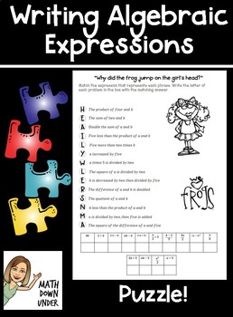 Writing Algebraic Expressions Riddle Puzzle!