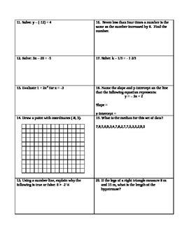 Pre-Algebra Skills Assessment Test 1 (Variety)