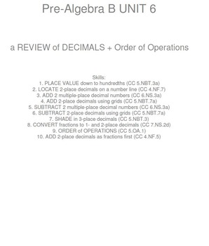 HS [Remedial] Pre-Algebra B UNIT 6:Decimals+ (4 worksheets; 6 quizzes)