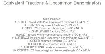 HS [Remedial] Pre-Algebra B UNIT 2:Uncommon Denoms (4 worksheets; 6 quizzes)