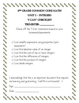 Pre-Algebra Big Ideas Unit 1 Tracking Packet