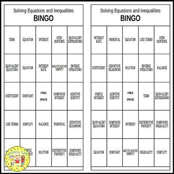 Pre-Algebra Bingo Games