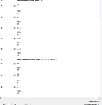 Pre-Algebra Chapter 1 ExamView Question Banks