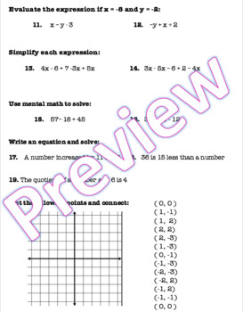 Pre Algebra Chapter 1 Test Editable with ANSWER KEY